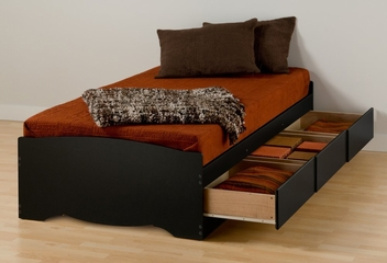 Twin XL Size Platform Storage Bed in Black - Sonoma Collection - Prepac Furniture - BBX-4105