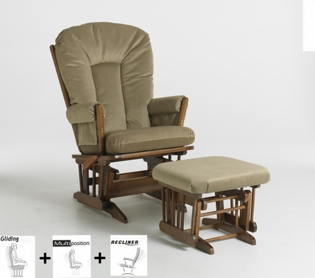 Two Post Multiposition and Recliner Glider with Ottoman Combo - Dutailier - C20-82B