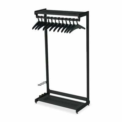 Two Shelf Garment Rack - 12 Hangers - Black - QRT20225