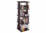 Typhoon 216 CD or 144 DVD or Blu-Ray or Games Spinner in Wood Look Espresso with Silver Finished Steel Rods - Atlantic - 82635716
