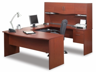 U-Shape Computer Work Station in Bordeaux and Charcoal - Bestar Office Furniture - 52411-39