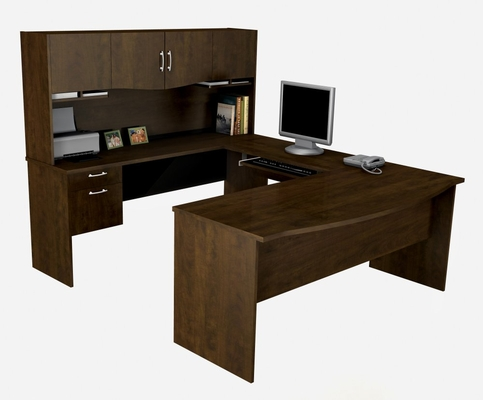 U-Shaped Computer Work Station in Chocolate - Harmony - Bestar Office Furniture - 52411-69