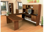 U-Shaped Computer Work Station in Tuscany Brown - Omega - Bestar Office Furniture - 52418-63