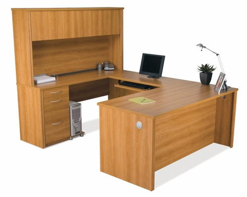 U-Shaped Desk Set 3 in Cappuccino Cherry - Embassy - Bestar Office Furniture - 60857-68
