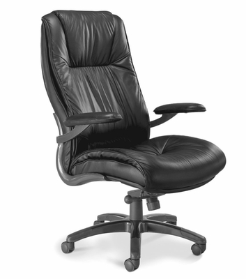 Ultimo Deluxe High Back Leather Chair in Black - Mayline Office Furniture - ULEXBLK