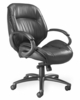 Ultimo Premium Mid-Back Leather Chair in Black - Mayline Office Furniture - ULMGRBLK