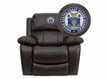 United States Coast Guard Academy Brown Leather Rocker Recliner - MEN-DA3439-91-BRN-41079-A-EMB-GG
