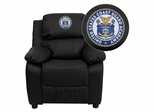 United States Coast Guard Academy Embroidered Black Leather Kids Recliner - BT-7985-KID-BK-LEA-41079-A-EMB-GG
