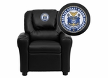 United States Coast Guard Academy Embroidered Black Vinyl Kids Recliner - DG-ULT-KID-BK-41079-A-EMB-GG