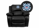 United States Coast Guard Black Leather Rocker Recliner - MEN-DA3439-91-BK-CG001-EMB-GG