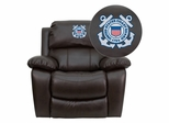 United States Coast Guard Brown Leather Rocker Recliner - MEN-DA3439-91-BRN-CG001-EMB-GG