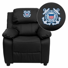 United States Coast Guard Embroidered Black Leather Kids Recliner - BT-7985-KID-BK-LEA-CG001-EMB-GG