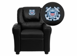 United States Coast Guard Embroidered Black Vinyl Kids Recliner - DG-ULT-KID-BK-CG001-EMB-GG