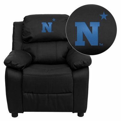 United States Naval Academy Goats Embroidered Black Leather Kids Recliner - BT-7985-KID-BK-LEA-45019-EMB-GG