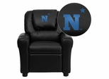 United States Naval Academy Goats Embroidered Black Vinyl Kids Recliner - DG-ULT-KID-BK-45019-EMB-GG