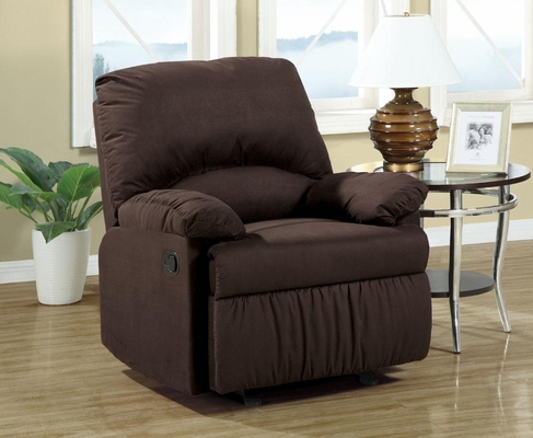 Upholstered Glider Recliner in Chocolate - 600266G