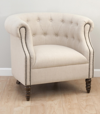 Upholstered Grace Natural Club Chair - GRACE-CH-NATURAL