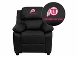 Utah Utes Embroidered Black Leather Kids Recliner - BT-7985-KID-BK-LEA-40027-EMB-GG