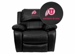 Utah Utes Embroidered Black Leather Rocker Recliner  - MEN-DA3439-91-BK-40027-EMB-GG
