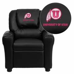 Utah Utes Embroidered Black Vinyl Kids Recliner - DG-ULT-KID-BK-40027-EMB-GG