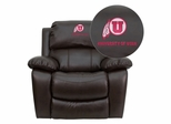 Utah Utes Embroidered Brown Leather Rocker Recliner  - MEN-DA3439-91-BRN-40027-EMB-GG
