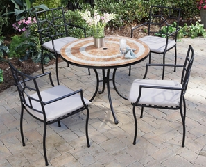 Valencia Outdoor Table and 4 Cambria Arm Chairs - Home Styles - 5603-3082