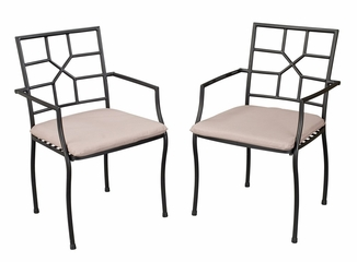 Fishtail Tile Bistro Table and 2 Cambria Arm Chairs - Home Styles - 5606-342