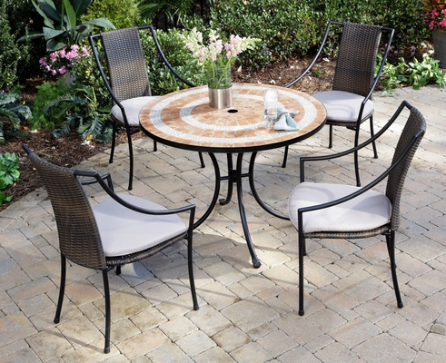 Valencia Outdoor Table and 4 Laguna Dining Arm Chairs - Home Styles - 5603-3080