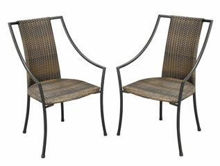 Fishtail Tile Bistro Table and 2 Laguna Dining Arm Chairs - Home Styles - 5606-340