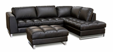 Valentino Sectional with Ottoman Set - Diamond Sofa - VALENTINORF2PCSECTOTTOB