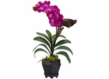Vanda with Black Hexagon Vase Silk Arrangement - Nearly Natural - 1252-BU