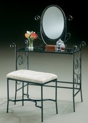 "Vanity, Mirror and Bench - Garden District ""Matte Black"" - Powell Furniture - 935-290"