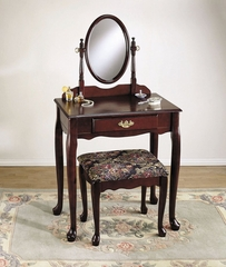 "Vanity, Mirror and Bench - ""Heirloom Cherry"" - Powell Furniture - C52"