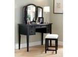 "Vanity, Mirror and Bench in ""Antique Black"" with Sand Through Terra Cotta - Powell Furniture - 502-290"