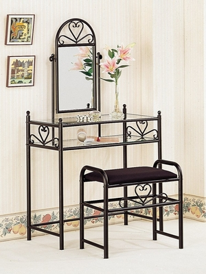 Vanity Table Set in Black - Coaster