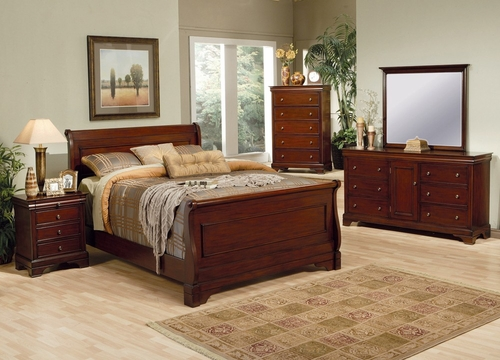 Versailles Queen Size Bedroom Furniture Set in Deep Mahogany - Coaster - 201481Q-BSET