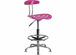Vibrant Candy Heart & Chrome Drafting Stool - LF-215-CANDYHEART-GG