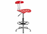 Vibrant Cherry Tomato & Chrome Drafting Stool - LF-215-CHERRYTOMATO-GG