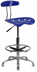 Vibrant Nautical Blue & Chrome Drafting Stool - LF-215-NAUTICALBLUE-GG