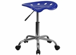 Vibrant Nautical Blue Tractor Seat & Chrome Stool - LF-214A-NAUTICALBLUE-GG