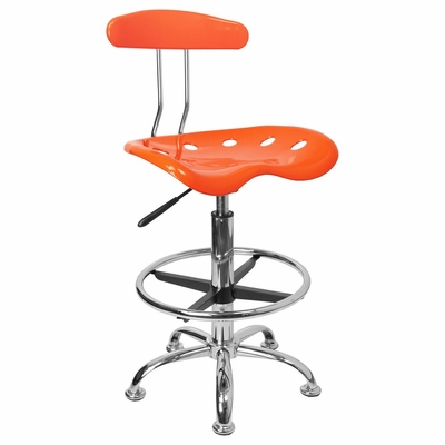 Vibrant Orange And Chrome Bar Stool Height Drafting Stool with Tractor Seat - LF-215-ORANGEYELLOW-GG