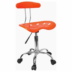 Vibrant Orange And Chrome Computer Task Chair with Tractor Seat - LF-214-ORANGEYELLOW-GG