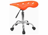 Vibrant Orange Tractor Seat And Chrome Stool - LF-214A-ORANGEYELLOW-GG
