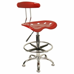 Vibrant Wine Red And Chrome Bar Stool Height Drafting Stool with Tractor Seat - LF-215-WINERED-GG