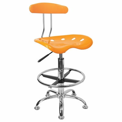 Vibrant Yellow And Chrome Bar Stool Height Drafting Stool with Tractor Seat - LF-215-YELLOW-GG