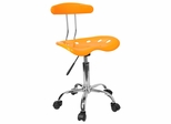 Vibrant Yellow And Chrome Computer Task Chair with Tractor Seat - LF-214-YELLOW-GG