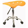 Vibrant Yellow Tractor Seat And Chrome Stool - LF-214A-YELLOW-GG