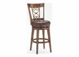 Villagio Dark Chestnut Swivel Scroll Back Stool - Hillsdale