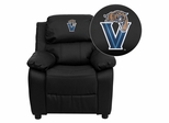 Villanova University Wildcats Embroidered Black Leather Kids Recliner - BT-7985-KID-BK-LEA-40032-EMB-GG