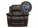 Villanova University Wildcats Embroidered Brown Leather Rocker Recliner  - MEN-DA3439-91-BRN-40032-EMB-GG